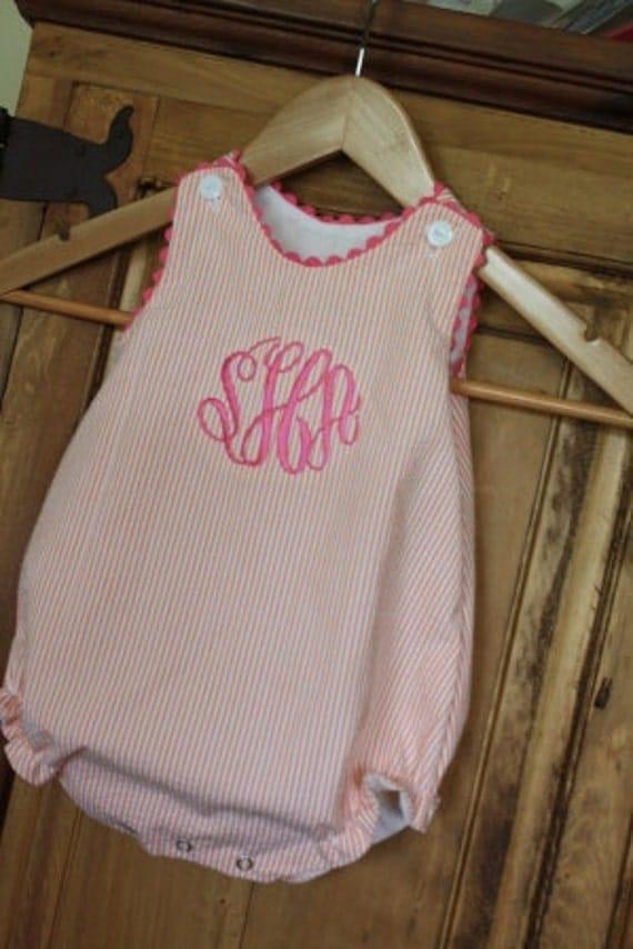 Baby girl bubble in orange seersucker with hot pink ric rac and monogram
