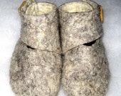 Soft gray hand-felted pure wool booties with customizable scrabble-letter accents