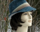 Elegant 2-toned green and gray fedora.  Hand-felted, vintage silk trim