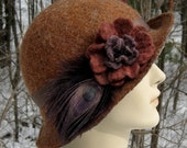 Luxurious hand-felted wool flower cloche hat in shades of spice