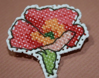Pretty Cross Stitched Flower Brooch (Pin)