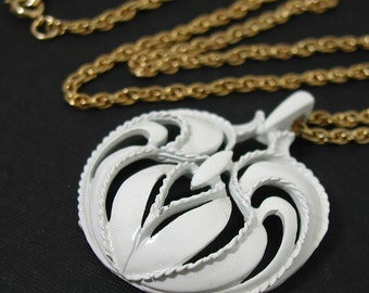 Vintage Mod White Swirls & Curves Necklace Long Gold Chain 1960s Pendant