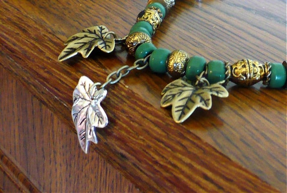 "Leaf Charms Necklace Autumn Green Gold Silver ""Falling Leaves"" Black Satin Cord // SRAJD"