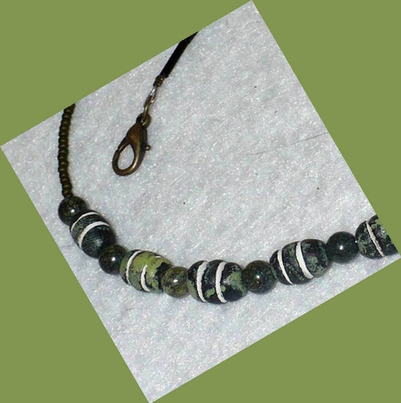 Green Clay and Stone Necklace // SRAJD
