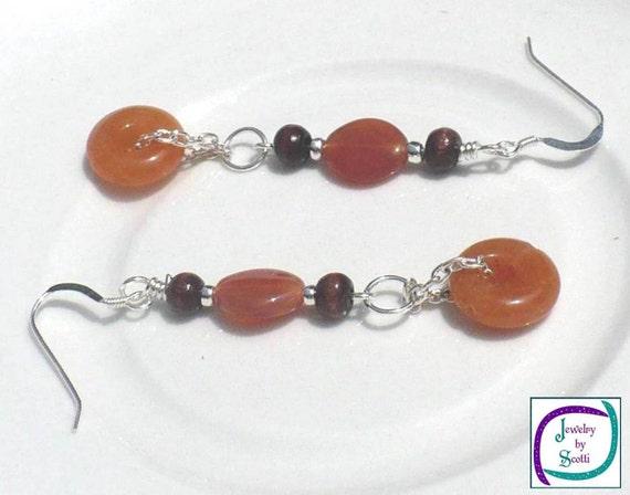 Red Aventurine Brown Wood Dangle Earrings