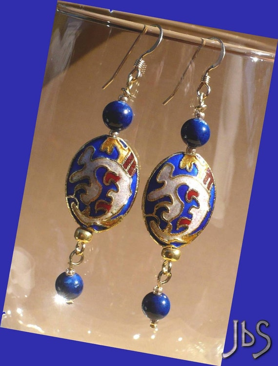 Blue Cloisonne Earrings // Enamel Oval Dragon Drops // River Stone // Gold Filled Ear Wires // SRAJD