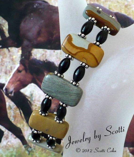Gemstone Stretch Bracelet // Wildhorse Picture Jasper // Double Strand // Black Onyx // SRAJD