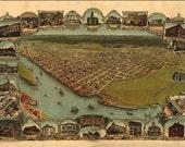 Eureka CA Birds Eye View Map 1902
