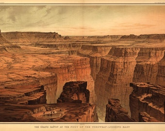 Grand Canyon Drawing USGS 1882 Birds Eye View