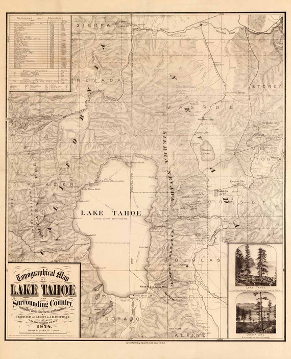 Lake Tahoe Map 1874 Topographic