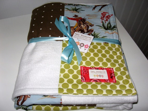 Baby Blanket   Cowboy Patchwork Baby Blanket / Quilt -- Amy Butler, Kaufman Fabrics-Organic Cotton Sherpa and Flannel