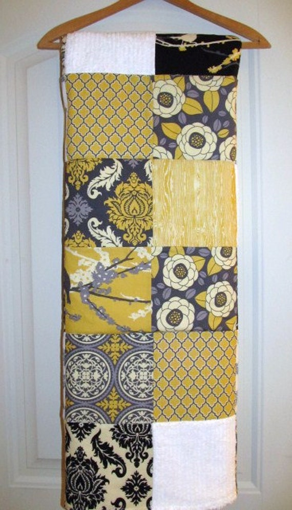 Baby Blanket  Aviary Yellow, Gray, Black and White Patchwork Baby Blanket / Quilt - Cotton Desinger Fabric, Chenille and Flannel