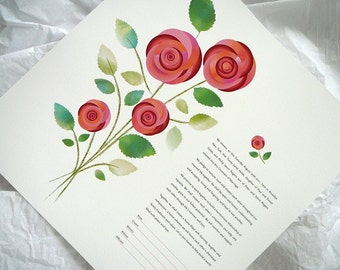 Bouquet of Roses - Ketubah, Vows, Anniversary, Commitment Contract