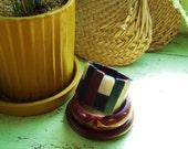 Awesome Vintage Wooden Bangle Set of 3 Painted Embellished Chunky Shell Onyx