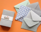 Handmade mini envelope in assorted pattern, scrapbooking, album, thank you note, wedding wishing-well, set of 20