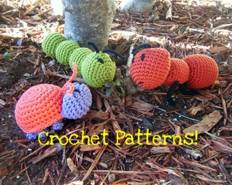 "Amigurumi Toy Ant, Beetle, & Caterpillar PDF Crochet Patterns INSTANT DOWNLOAD  ""Not-So-Creepy-Crawlies"""