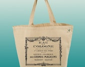 Canvas Tote Bag-Large Carry All Recycled Organic Tote- Eau De Cologne-Vintage Cologne Ad
