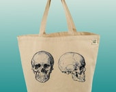 Canvas Tote Bag-Large Carry All Recycled Organic Tote- Another View Skull-2 Skulls-Anatomy-Human Skulls