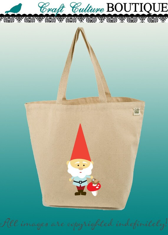 Canvas Tote Bag-Large Carry All Cotton Tote- Gnome Garden