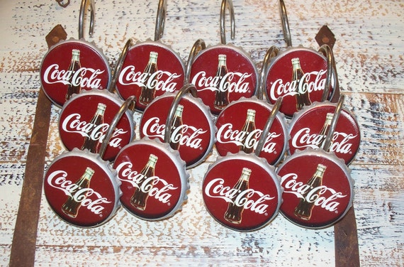 Curtains Ideas coca cola shower curtain : Vintage Coca-Cola Bottle Cap Shower Curtain Hooks RESERVED