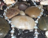 Treasury item Glowing Vintage moon stone glass necklace. Price reduced