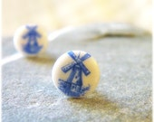 Earring Posts -Tiny Windmills- vintage upcycled glass cabochons, white, blue, dutch windmills, sale, gift under 10, shabby chic