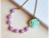 Mint and Lavender Necklace,asymetrical, purple beads and light green rose, sweet, romantic, shabby chic