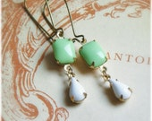 White and mint green pastel earrings, Romantic, vintage glass jewels on brass, lovely gift for her, mint, gift under 10, sale
