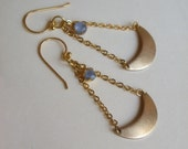 Chandelier Earrings, raw brass crescent moon charms on vermeil earwires, Clair de Lune