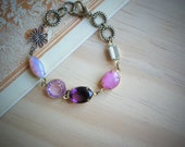 Vintage jewels bracelet, purple and pink vintage glass stones on antique brass, gft under 20
