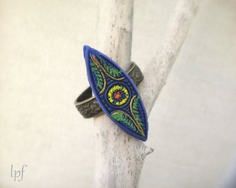 Bohemian Ring, antique blue glass handpainted eye shaped cabochon, antiqued brass, adjustable, vintage upcycled