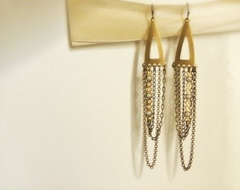 Chandelier Earrings, art deco brass triangles and mix of vintage cascading chains. Urban Romance Collection.