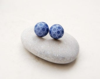 Retro Post Earrings, Vintage glass stones, white with blue polka dots, gift under 10
