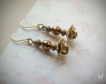 Vintage Brass Earrings, brass roses and copper glass beads, romantic elegant earrings, gift under 15