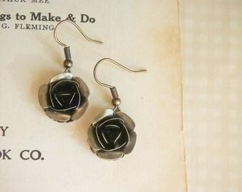 Rose Earrings Noire Romance, antique dark bronze roses romantic earrings, gift under 20