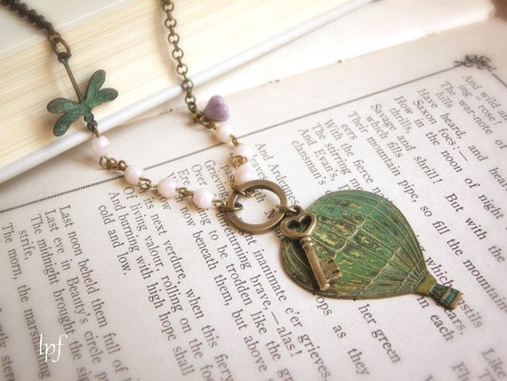 Fly Up Necklace, Verdigris Hot Air Balloon, Dragonfly, Skeleton Key, Vintage Beads