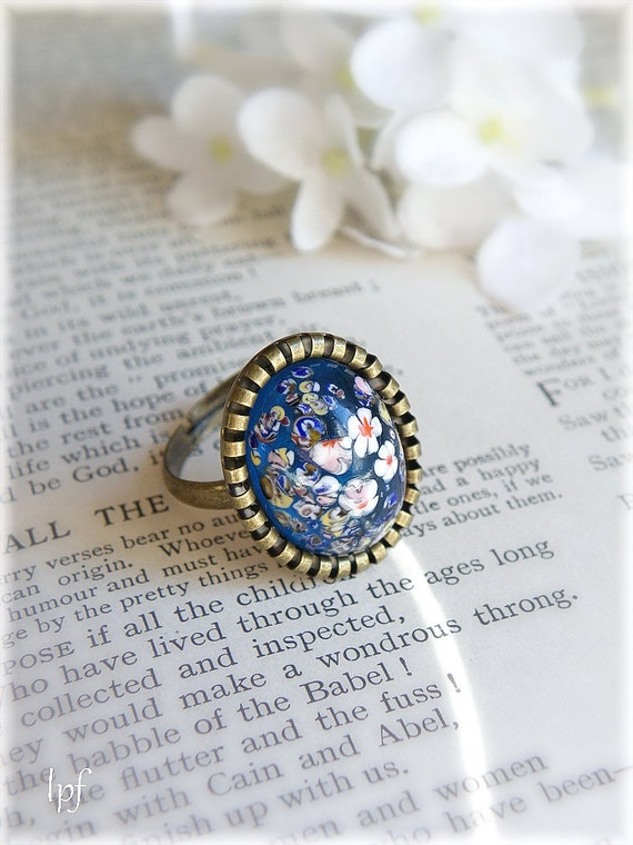 Millefiori Ring, Blue Garden, Vintage blue floral opal glass stone on antiqued brass, adjustable