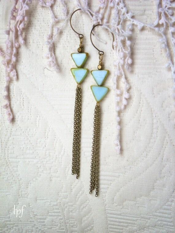 Geometric Triangle Brass Tassel Earrings, Ariadne, turquoise czech glass beads antique brass chain tassel, long bohemian urban chic earrings