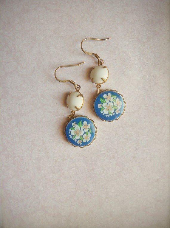SPRING SALE! Capri earrings, vintage upcycled glass stones on brass, turquoise and white shabby chic earrings