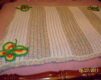 Crocheted Baby Afghan with Butterflies