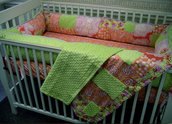 SALE  Ready To Ship 3 Piece Bedding Set- sheet, puffy bumpers, extra large crib size blanket