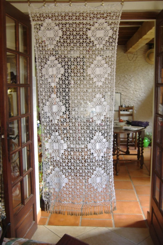 Vintage French Handmade Crochet Door Curtain By
