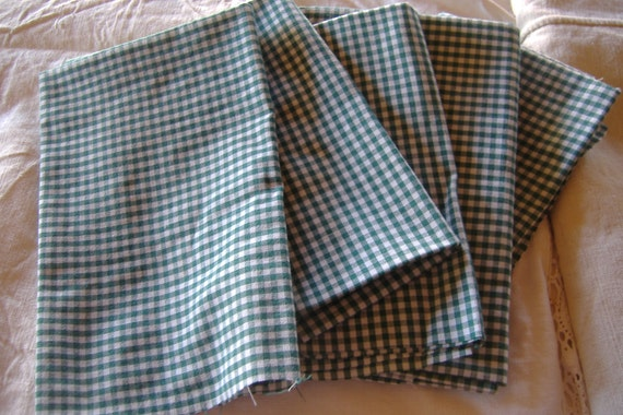 5 pieces Vintage 1960's cotton gingham patchwork sewing quilting
