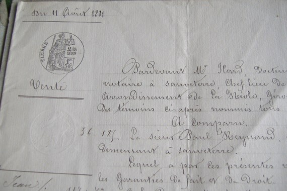 REDUCED...1881 French handwritten land sale document...Sauveterre St. Romain wine region