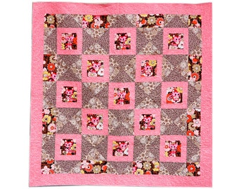 Little girl quilt Pink and Brown with cute kittens