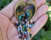 Peacock Earrings, Handpainted Extravagant and Eye Catching, Dazzling Swarovski Crystal Tail  (made to order)