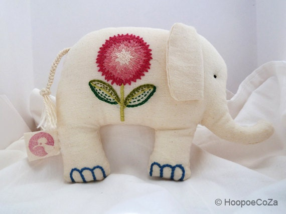 Miss Flora -- handstitched cotton elephant