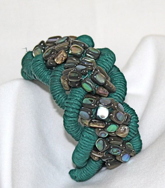 Paua Shell Raffia Braided Bracelet