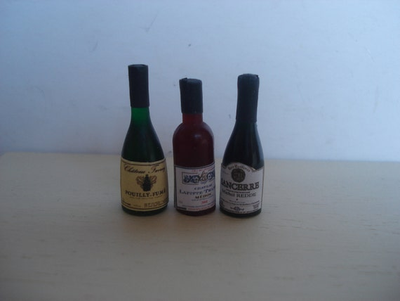Miniature French wine bottles