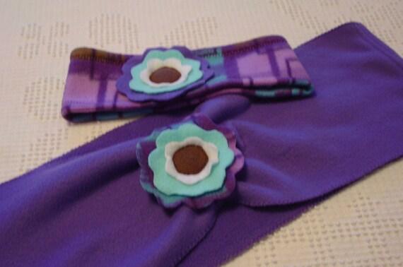 Girls scarf and headband set purple fleece with flower